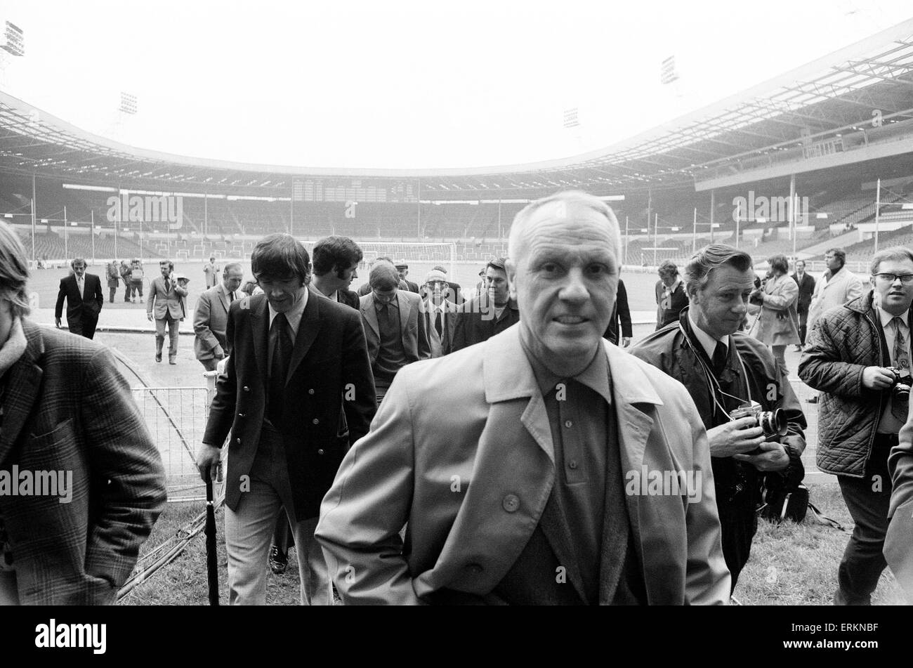 Liverpool manager Bill Shankly at Wembley Stadium to inspect the pitch ahead of his side's FA Cup Final match against Stock Photo