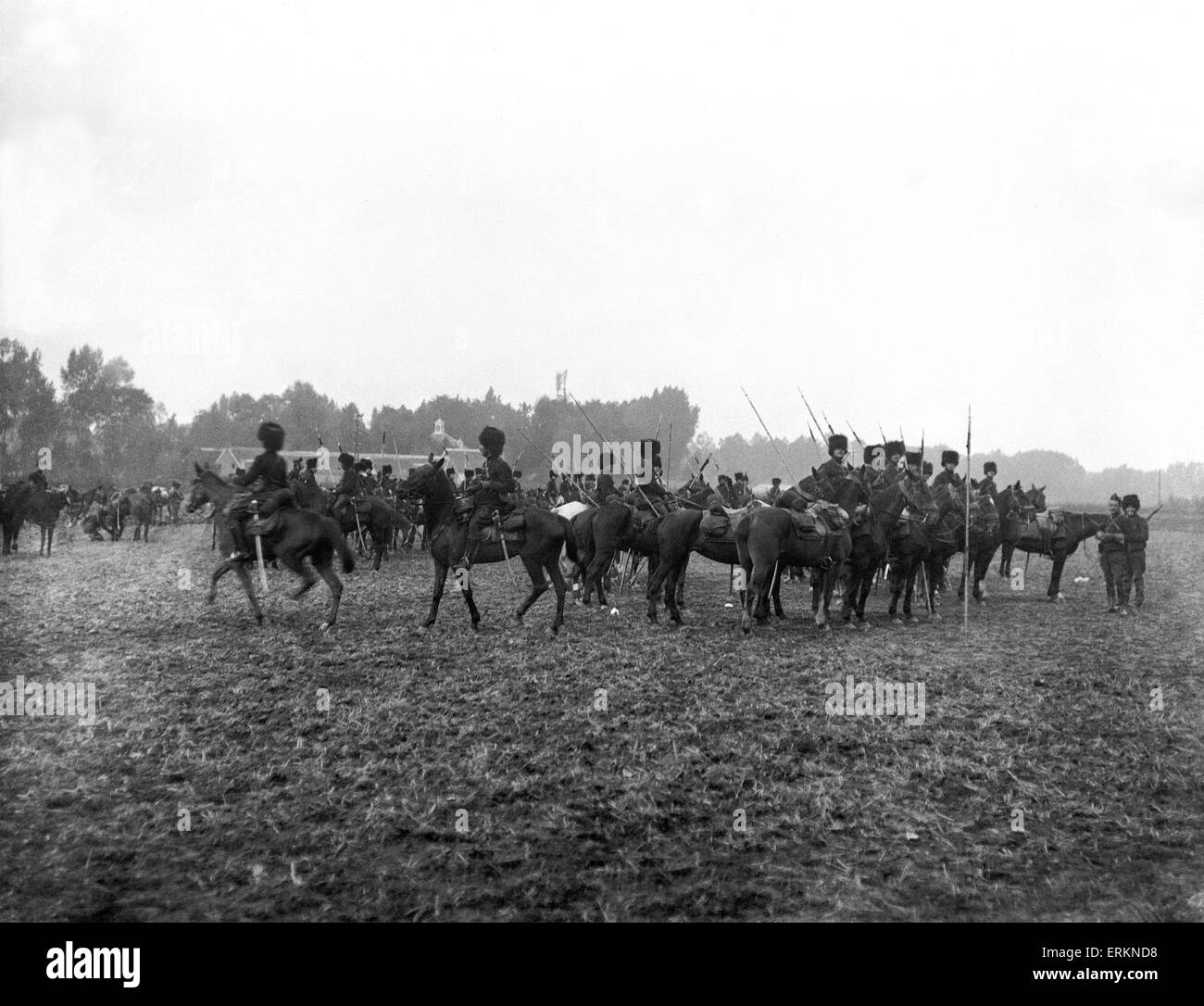 Belgian Lancers seen here during the defence of Antwerp 28th September 1914 - Stock Image