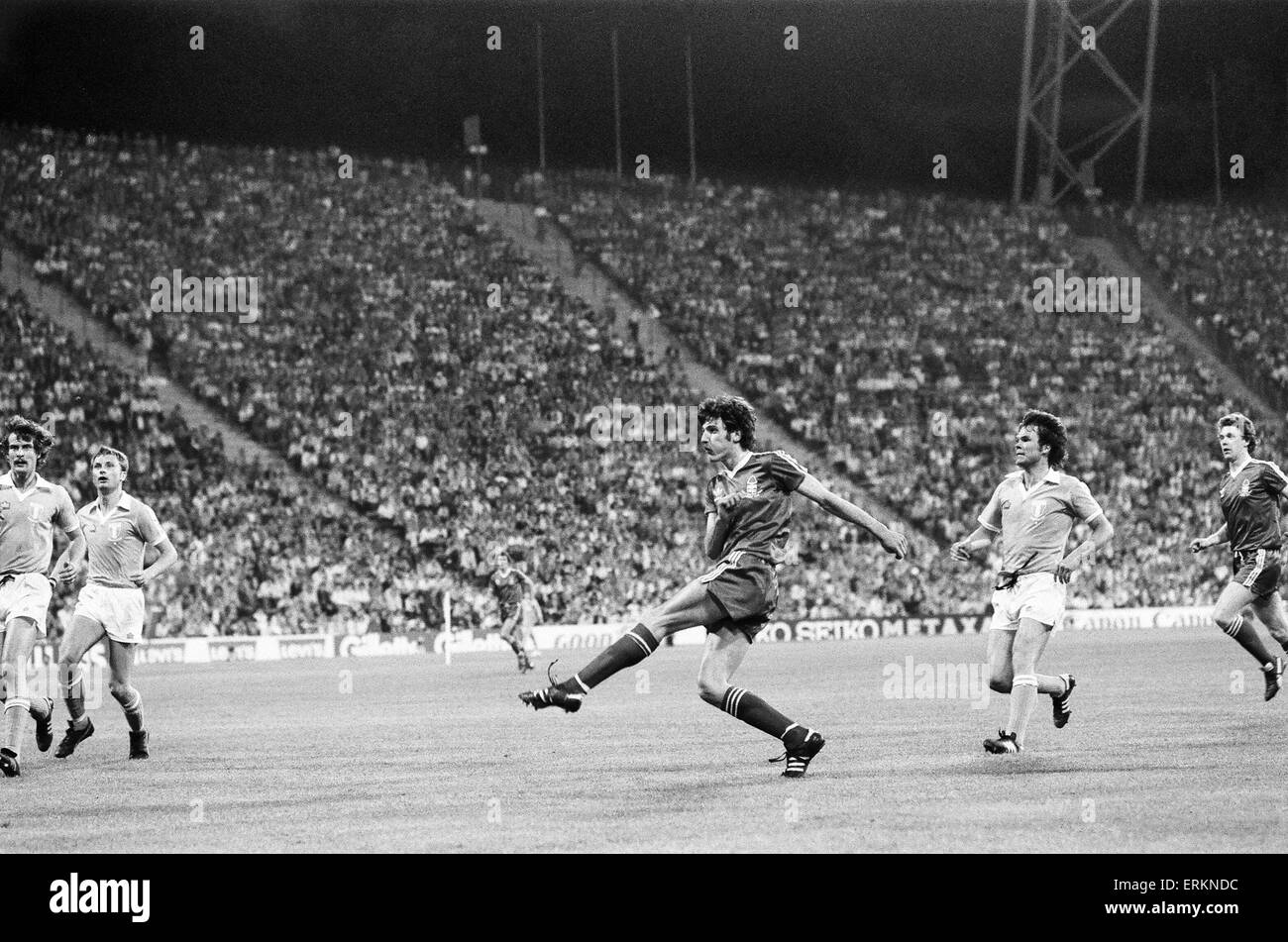 European Cup Final at the Olympic Stadium in Munich.  Nottingham Forest 1 v Malmo 0. Garry Birtles finds space for - Stock Image