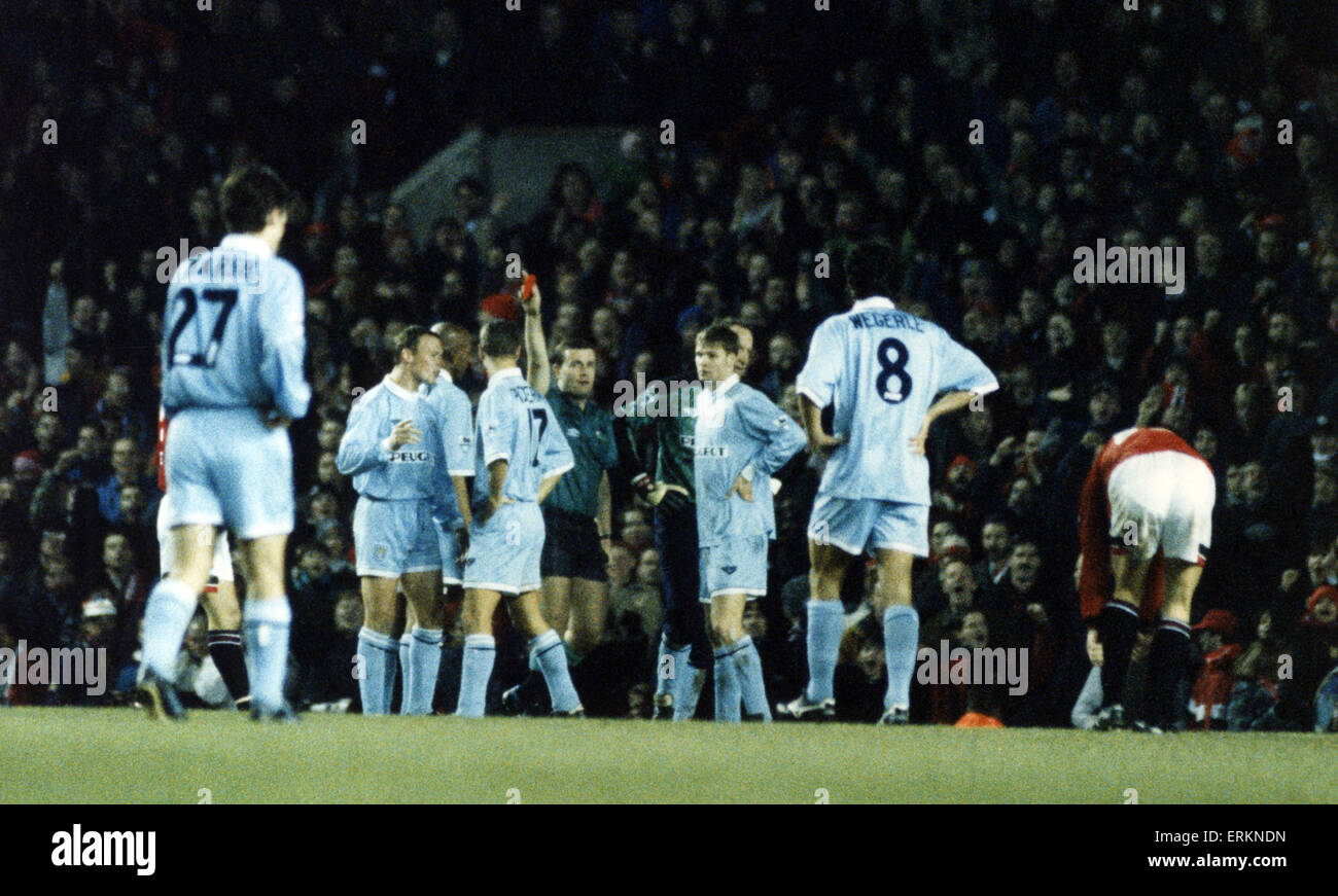 Steven Pressley, Coventry City Football Player, centre back, being sent off at Old Trafford, Tuesday 3rd January - Stock Image