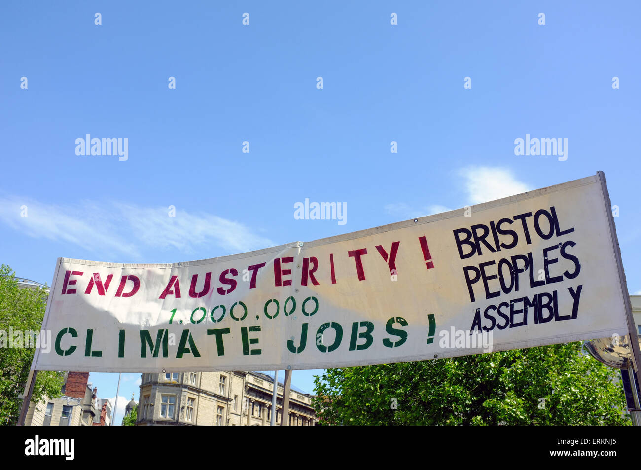 An end austerity banner held up at an anti-austerity protest held in Bristol. - Stock Image