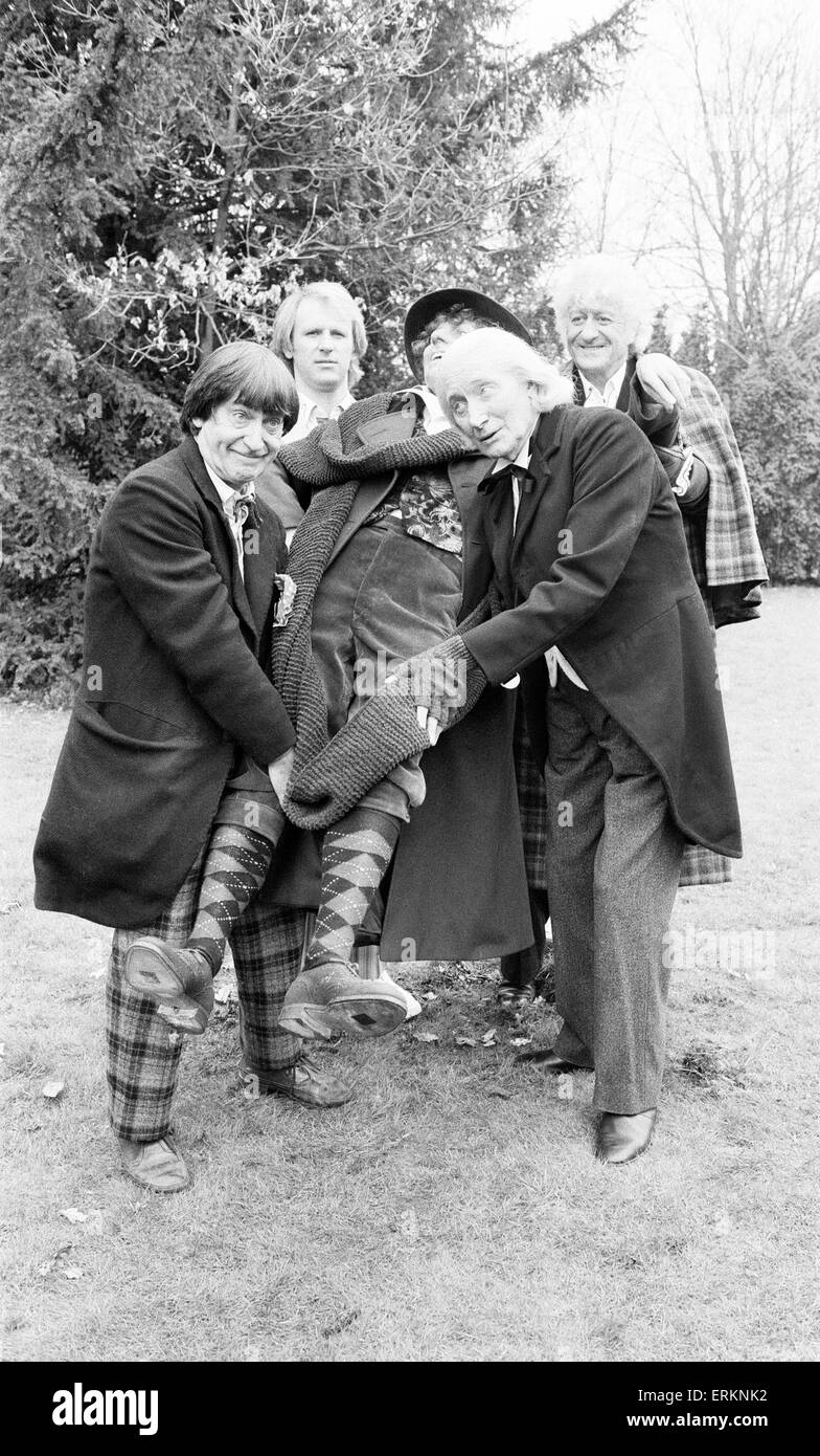 Photocall for special 90 minute Doctor Who episode titled 'The Five Doctors', which will celebrate 20 years - Stock Image