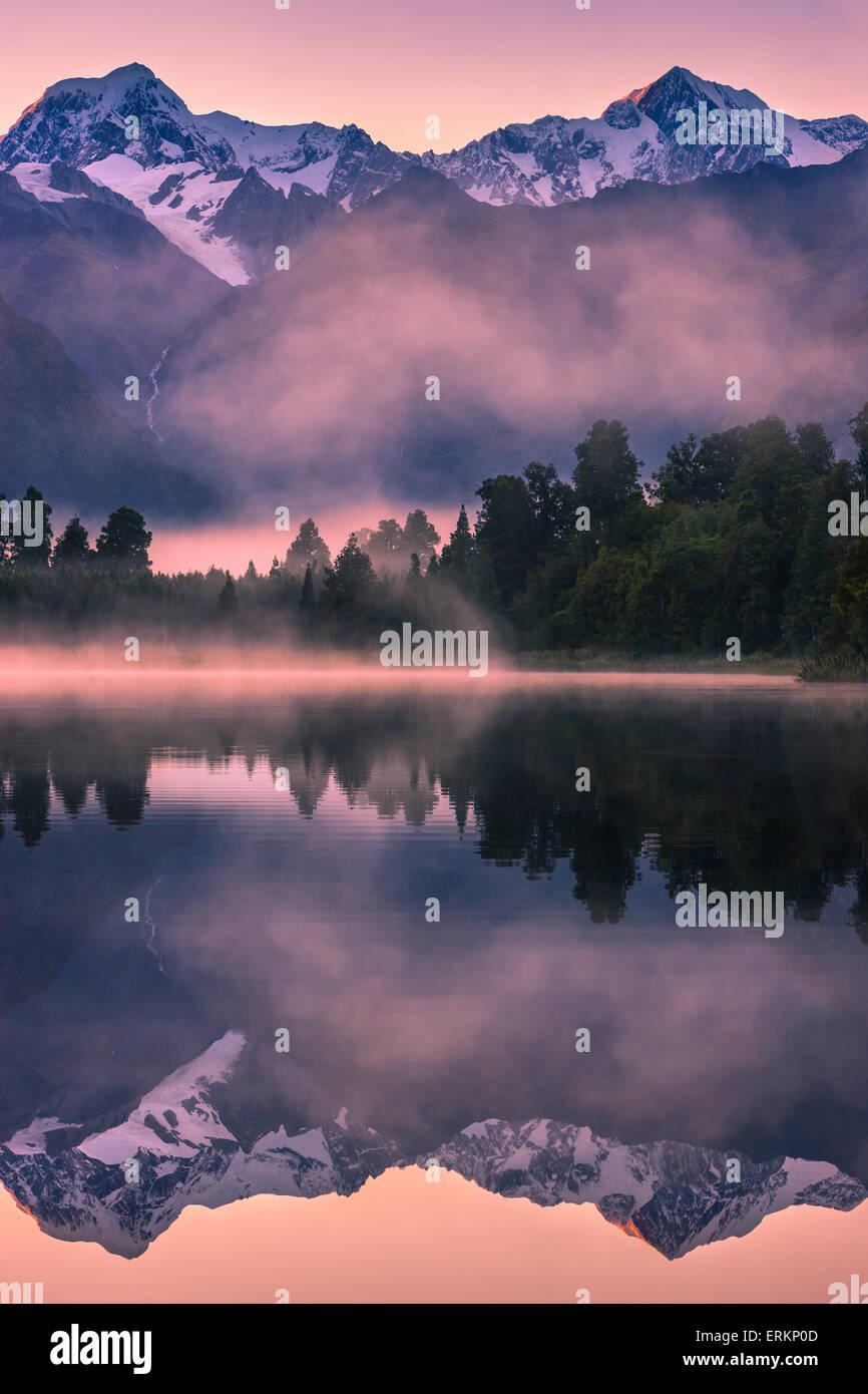 Sunrise Lake Matheson, South Island, New Zealand - Stock Image