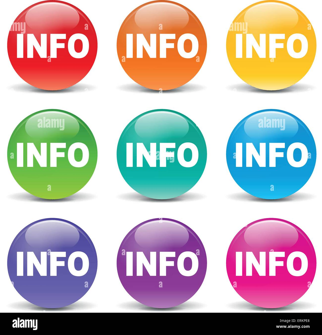 Vector illustration of info colors icons on white background - Stock Image