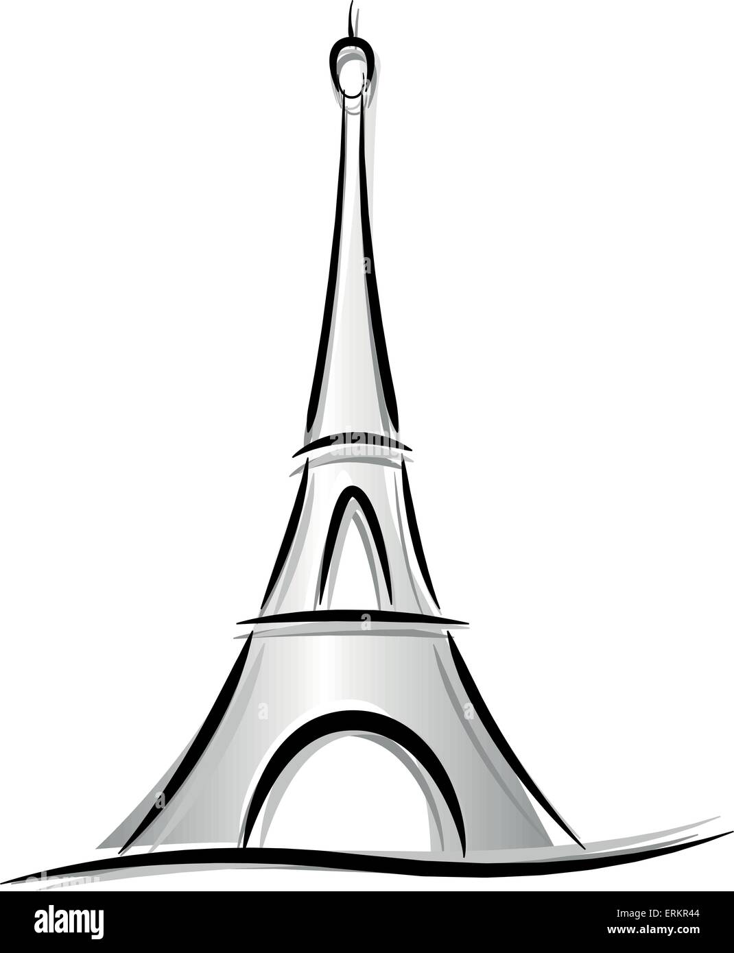 Vector drawing of eiffel tower on white background stock - Dessin tour eiffel simple ...