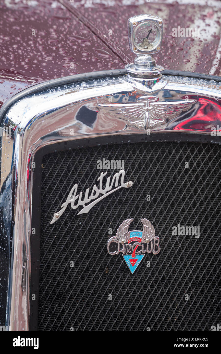 Front of Austin Seven classic old car with Austin 7 Dorset Car Club badge on grille and engine temperature gauge - Stock Image