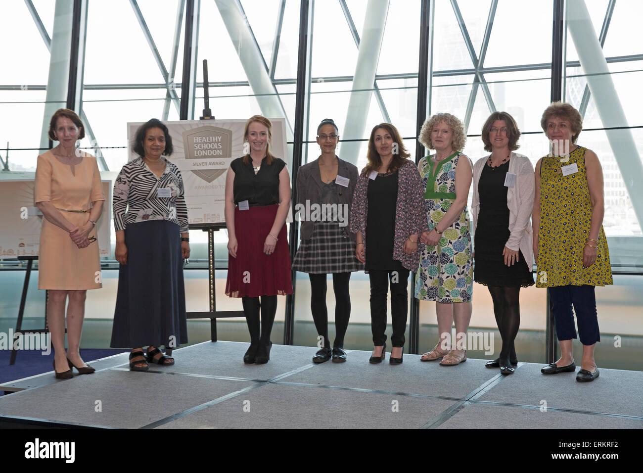 London, UK. 4th June, 2015. Ealing Schools won a silver award at the Healthy Schools London awards at City Hall - Stock Image