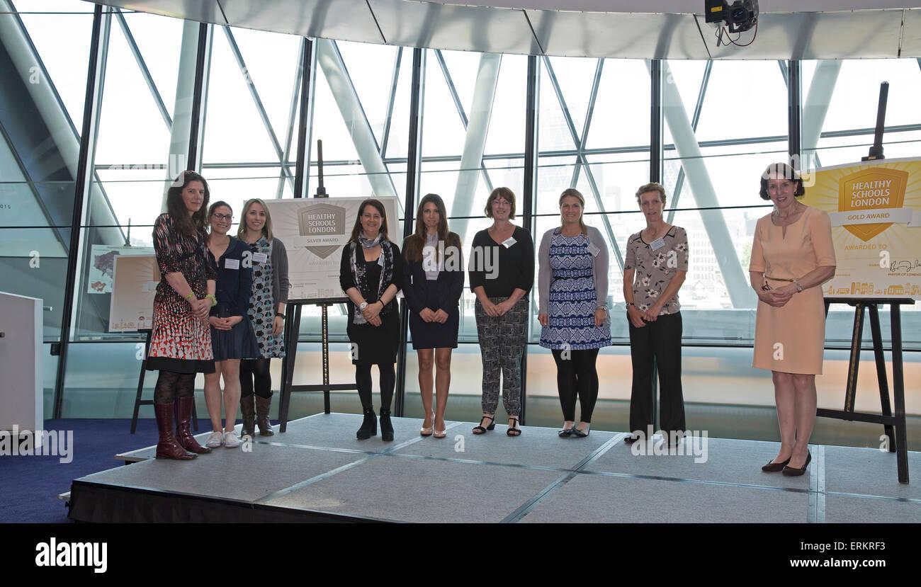 London, UK. 4th June, 2015. Enfield Schools won a silver award at the Healthy Schools London awards at City Hall - Stock Image