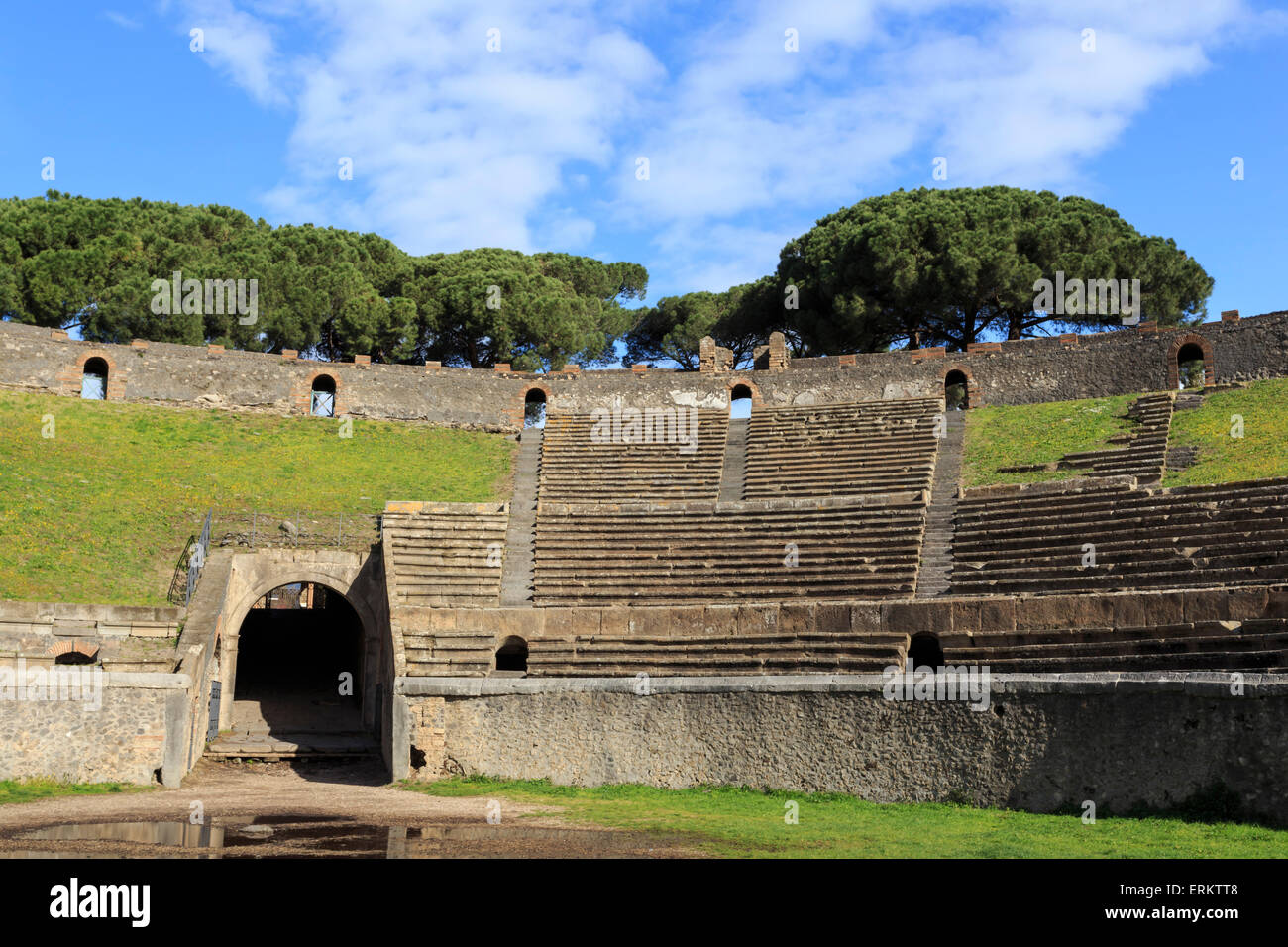 Auditorium and entrance gate, Amphitheatre, Roman ruins of Pompeii, UNESCO World Heritage Site, Campania, Italy, - Stock Image