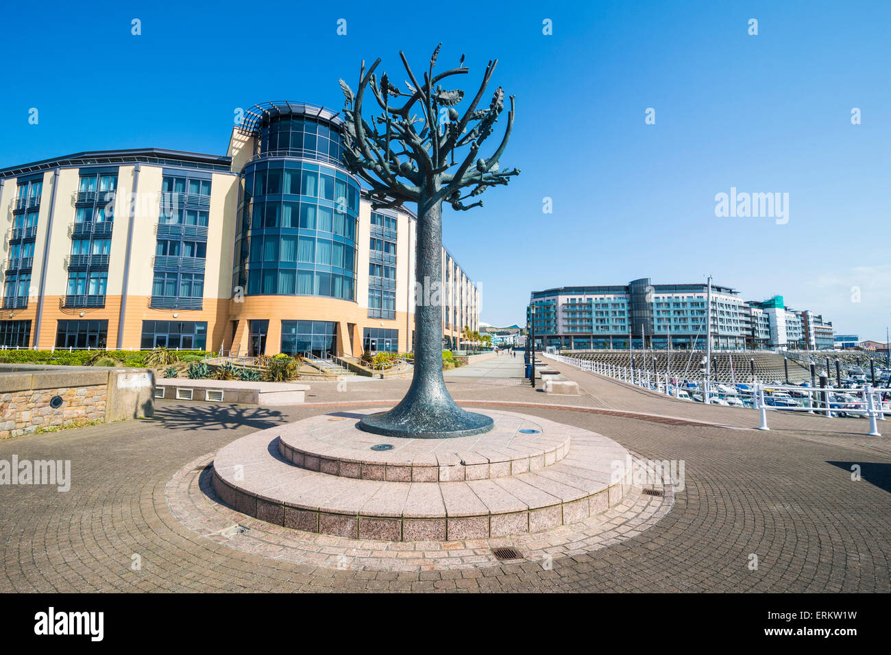 Modern sculpture in the harbour of St. Helier, Jersey, Channel Islands, United Kingdom, Europe - Stock Image