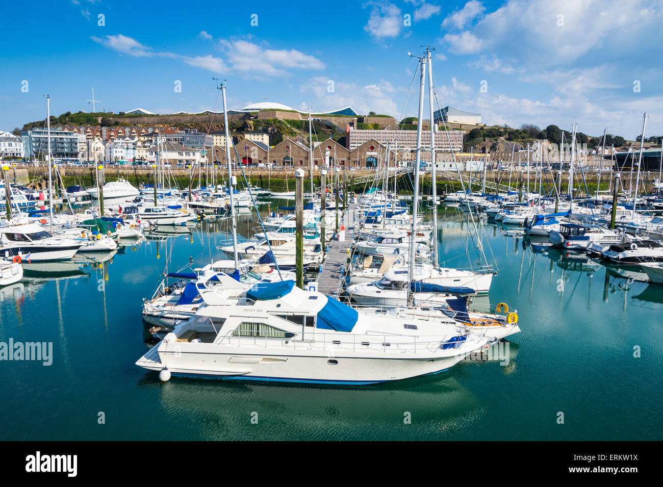 Sport boat harbour, St. Helier, Jersey, Channel Islands, United Kingdom, Europe - Stock Image