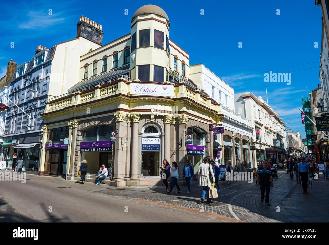 Pedestrian zone in St. Helier, Jersey, Channel Islands, United Kingdom, Europe - Stock Image