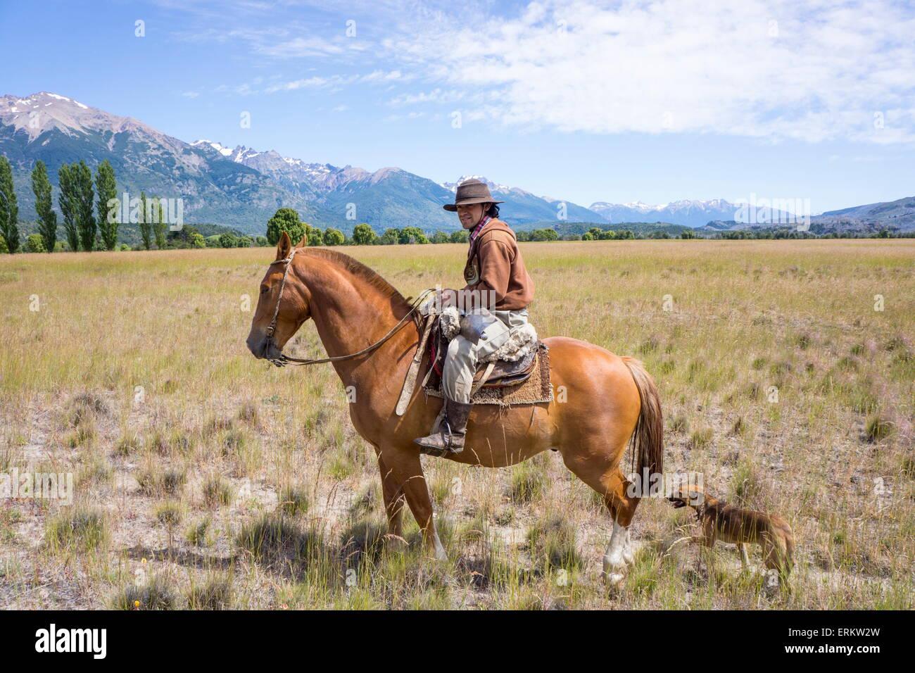 Gaucho on horseback, Patagonia, Argentina, South America Stock Photo