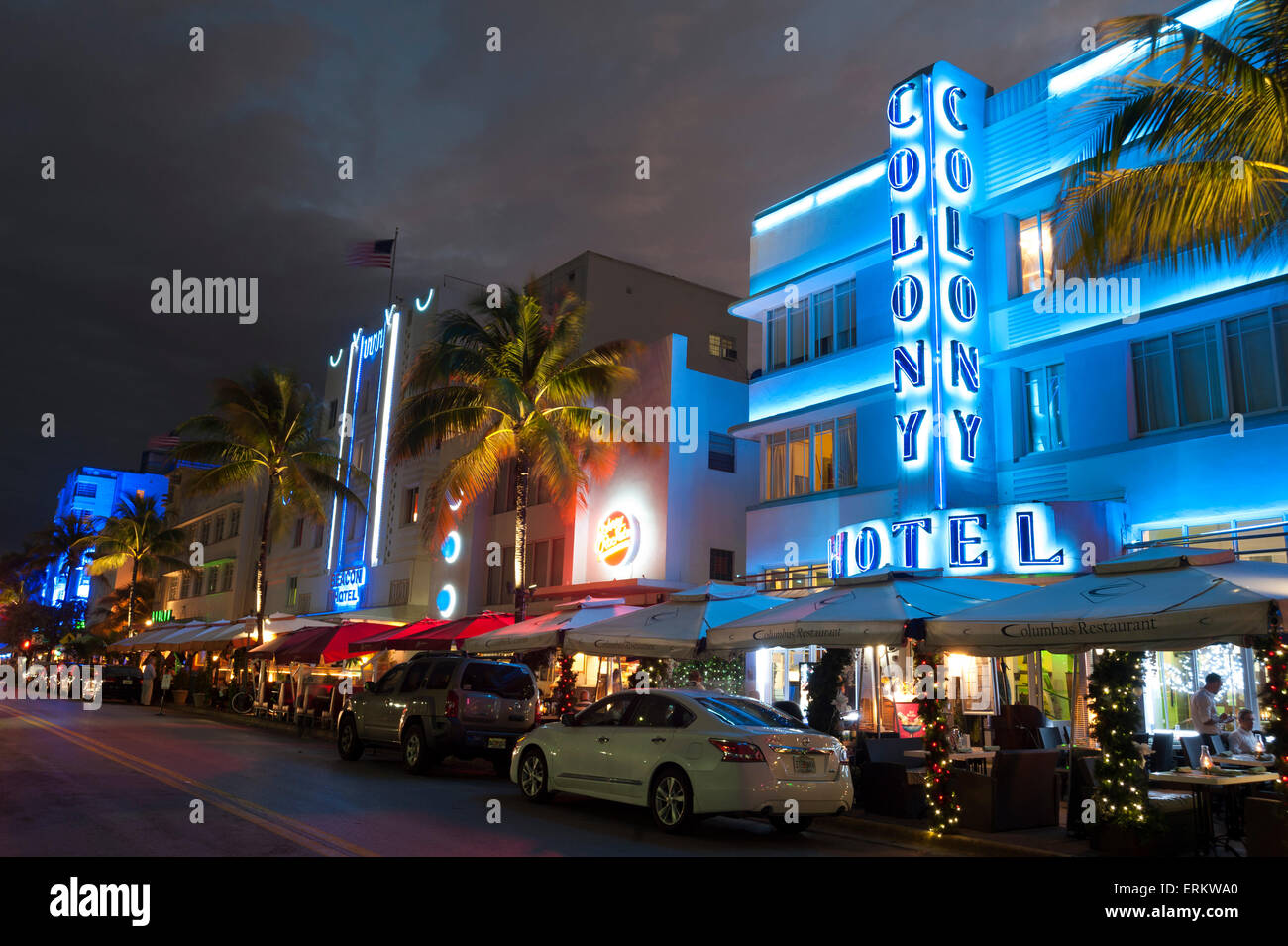 Colony Hotel, Ocean Drive, South Beach, Miami Beach, Florida, United States of America, North America - Stock Image