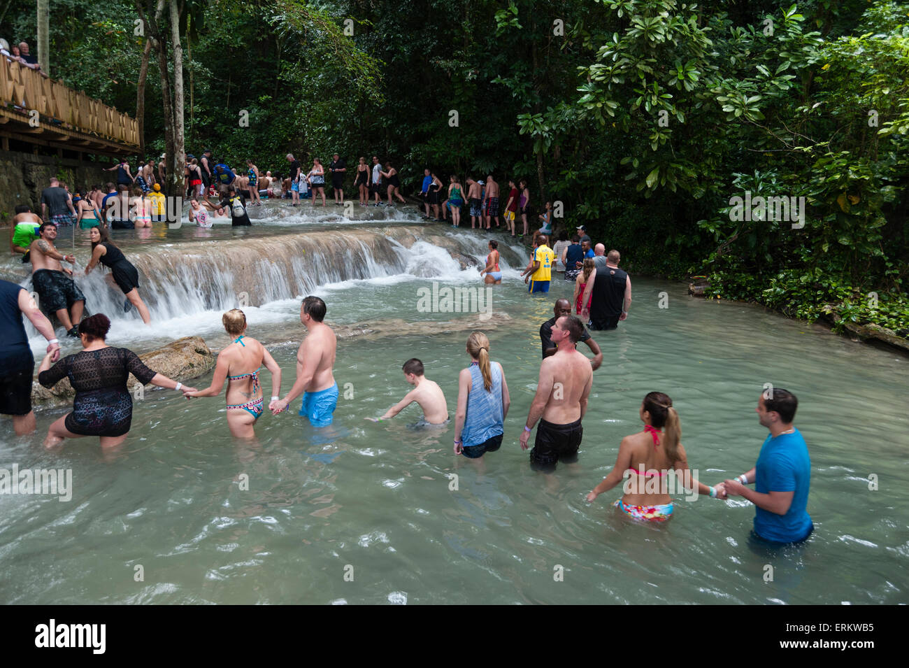 Dunn's River Falls, Ocho Rios, Jamaica, West Indies, Caribbean, Central America - Stock Image