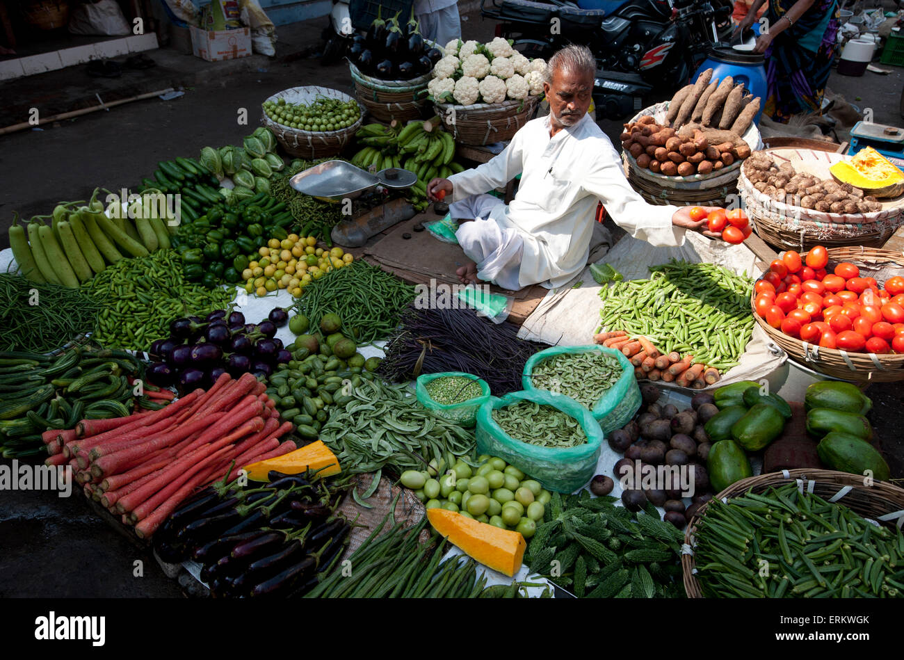 Subji wallah (vegetable seller) sitting at his beautifully laid out vegetable stall in the market, Ahmedabad, Gujarat, - Stock Image