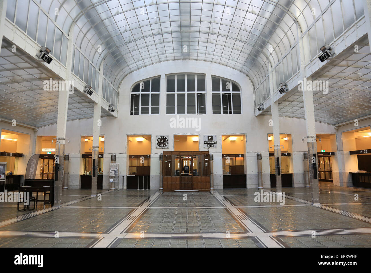 Hall. Postal Office Savings Bank Building by Otto Wagner, Vienna, Austria, Europe - Stock Image