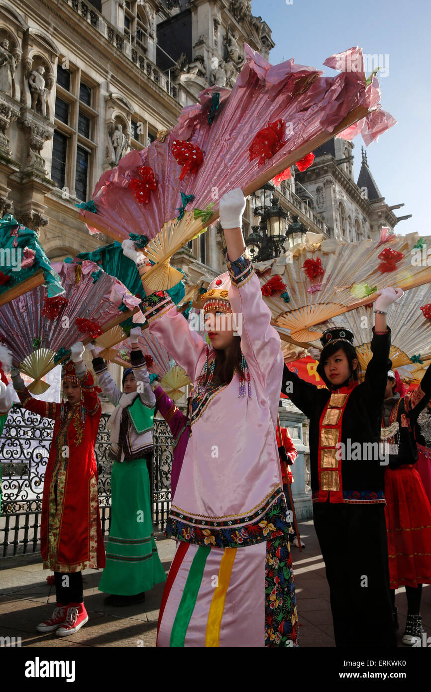Chinese New Year outside the Paris City Hall, Paris, France, Europe - Stock Image