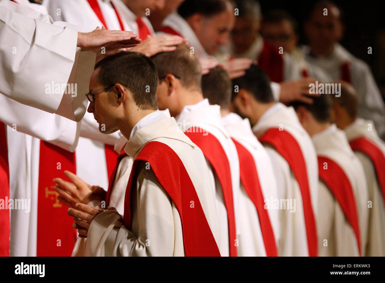Priest ordinations in Notre-Dame de Paris Cathedral, Paris, France, Europe - Stock Image
