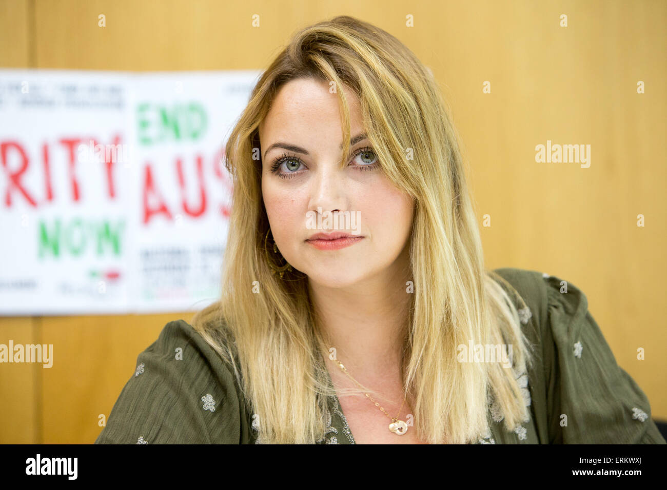 Welsh singer Charlotte Church gives a press conference ahead of the anti austerity March on June 20th - Stock Image