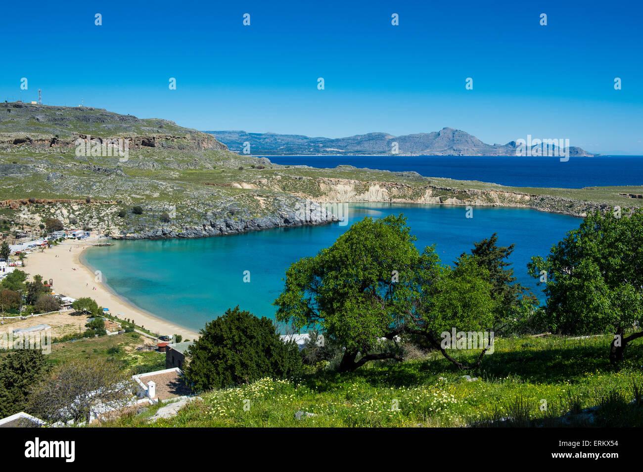 Pallas beach in Lindos, Rhodes, Dodecanese Islands, Greek Islands, Greece, Europe - Stock Image
