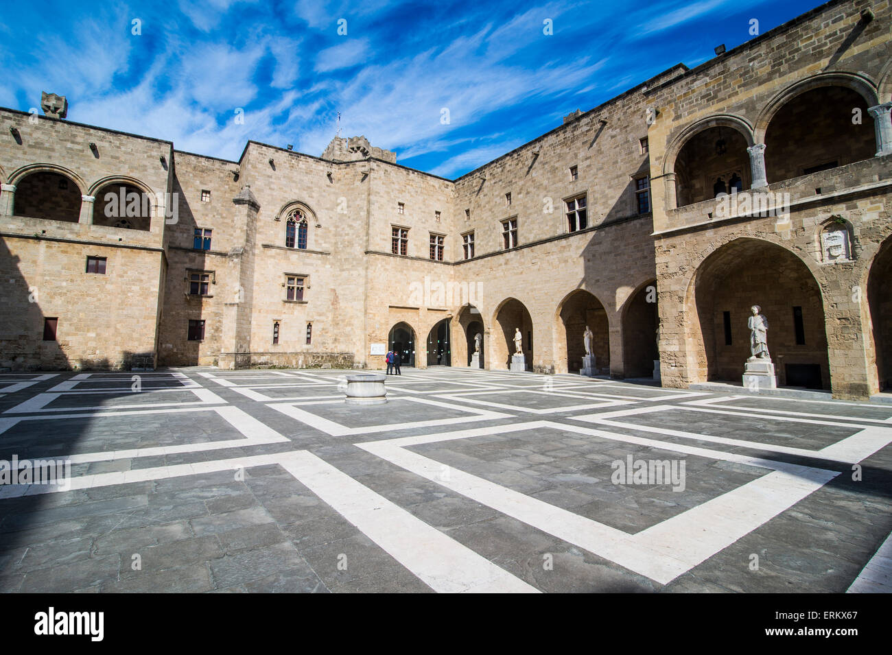 Yard in the Palace of the Grand Master, the Medieval Old Town of the City of Rhodes, Rhodes, Dodecanese Islands, - Stock Image