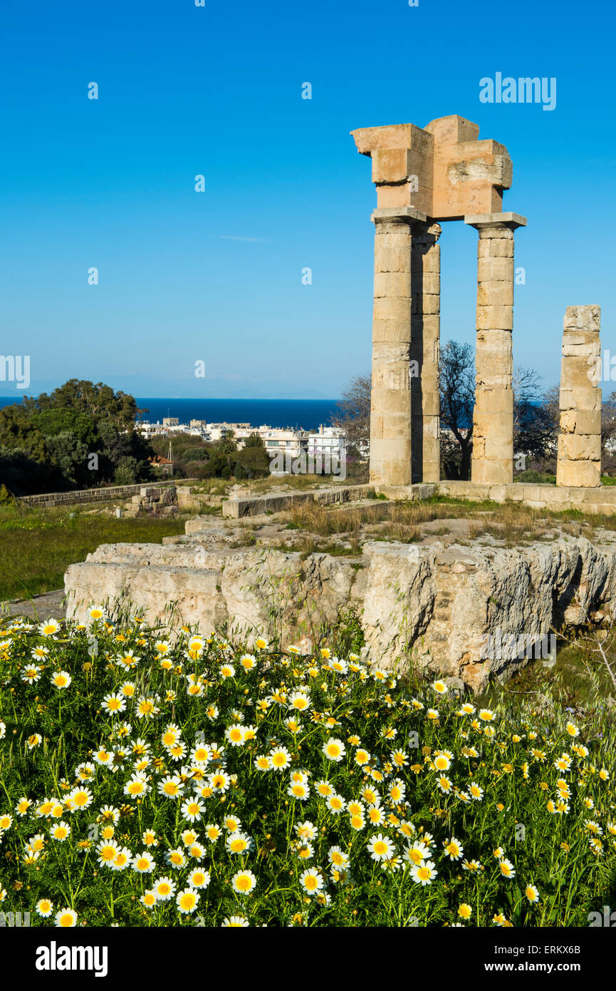 Temple of Apollo at the Acropolis, Rhodes, Dodecanese, Greek Islands, Greece, Europe - Stock Image