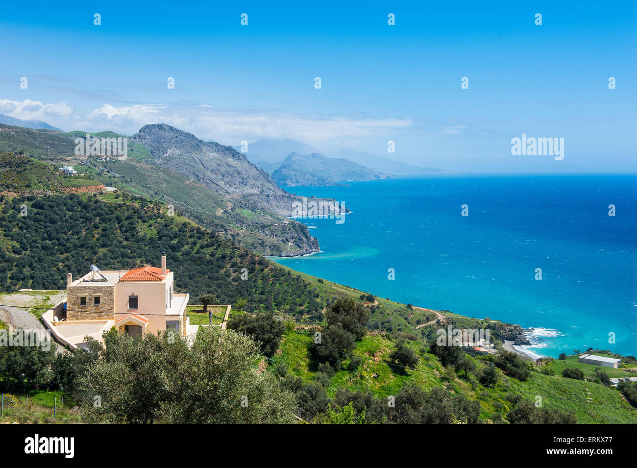 View over the south coast of Crete, Greek Islands, Greece, Europe - Stock Image