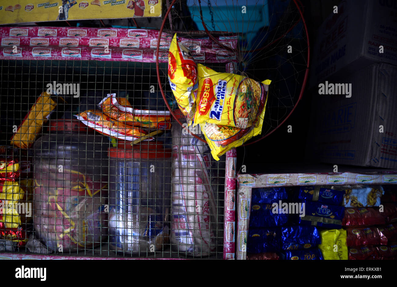 Kolkata, India. 05th June, 2015. Displayed Maggi noodles in a store. The Delhi government on Wednesday banned the - Stock Image