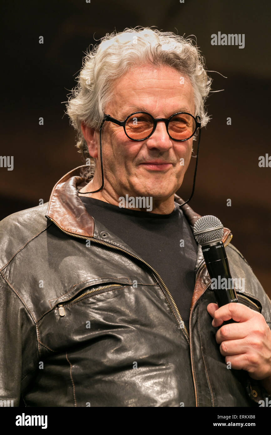 Australian film director George Miller speaks during the Japan premiere for the film ''Mad Max: Fury Road'' - Stock Image