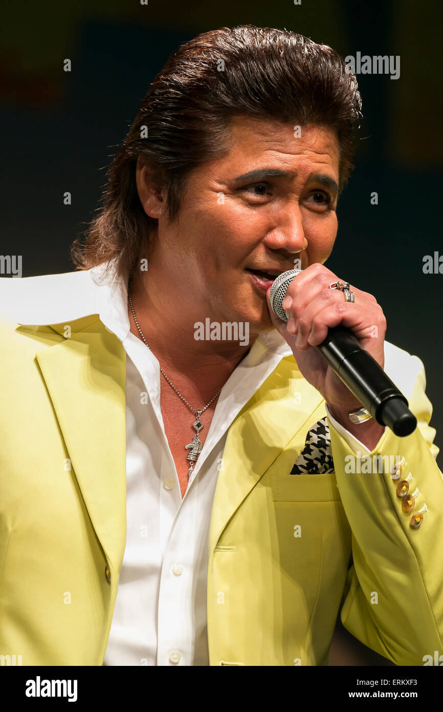 Actor Riki Takeuchi speaks during the Japan premiere for the film ''Mad Max: Fury Road'' in Tokyo - Stock Image