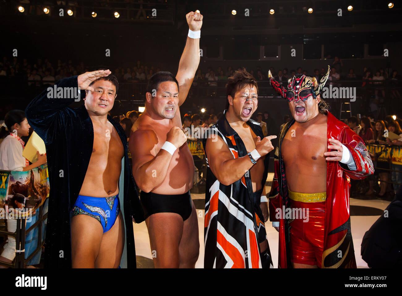 Pro Wrestlers Yuji Nagata, Manabu Nakanishi, Satoshi Kojima and Hiroyoshi Tenzan pose for the cameras during the - Stock Image