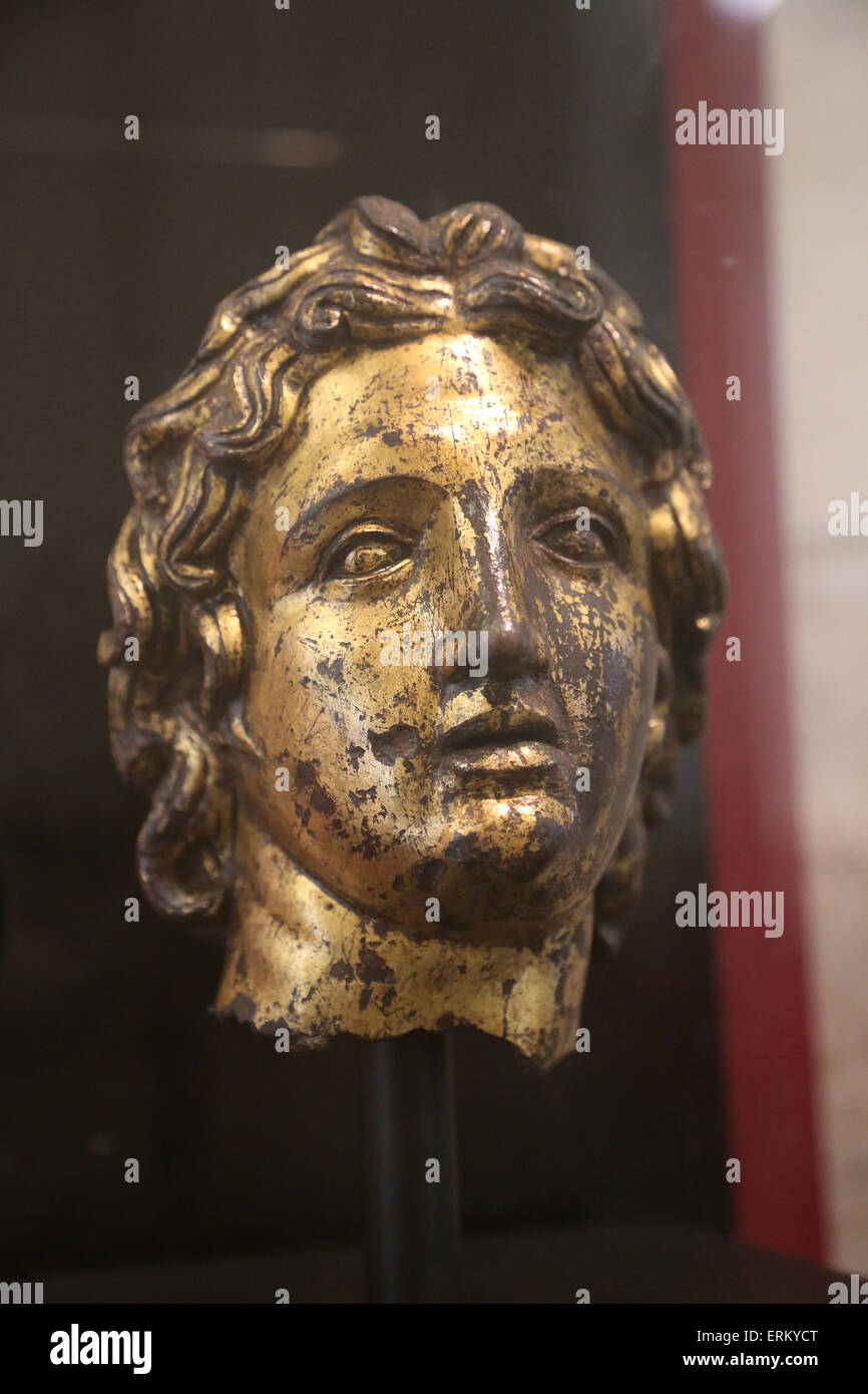 Alexander the Great (356-323 BC). king of Macedonia. Head. Bronze. Portrait. 2nd C. Rome. Italy. National Roman - Stock Image