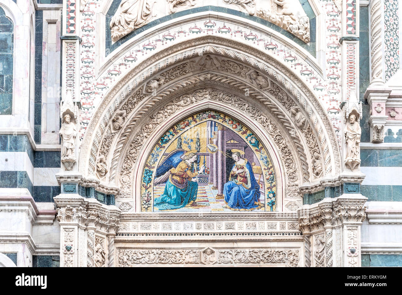 Detail of Santa Maria del Fiore Cathedral, the main church in Florence, known as Duomo di Firenze. - Stock Image
