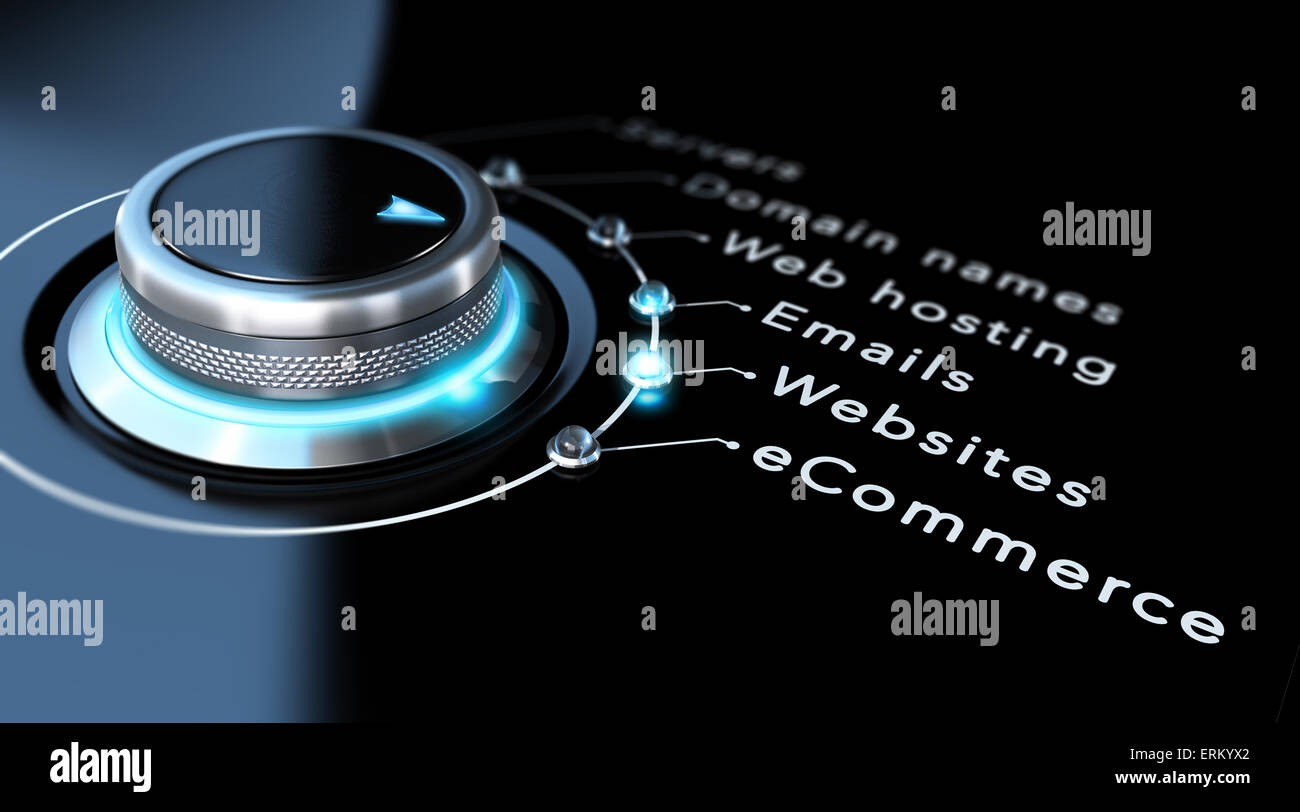 Web design company concept. Switch button pointing to websites, black background and blue design - Stock Image