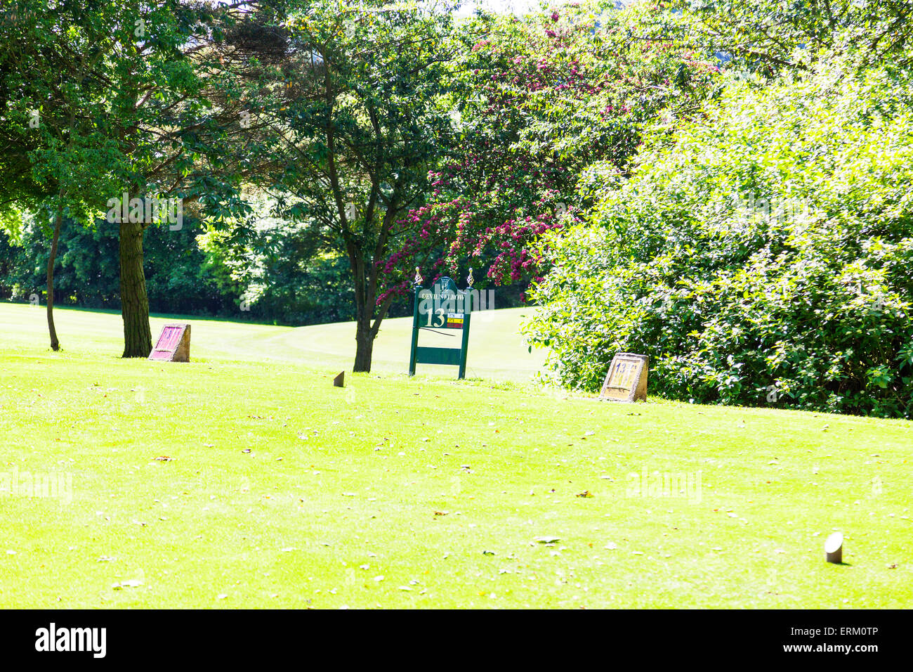 Golf tee markers number 13 marker club sign signs devils elbow Louth Lincolnshire UK England - Stock Image