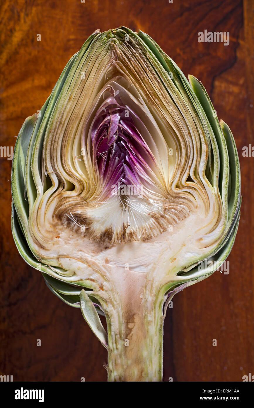 Close up of an artichoke cut in half Stock Photo