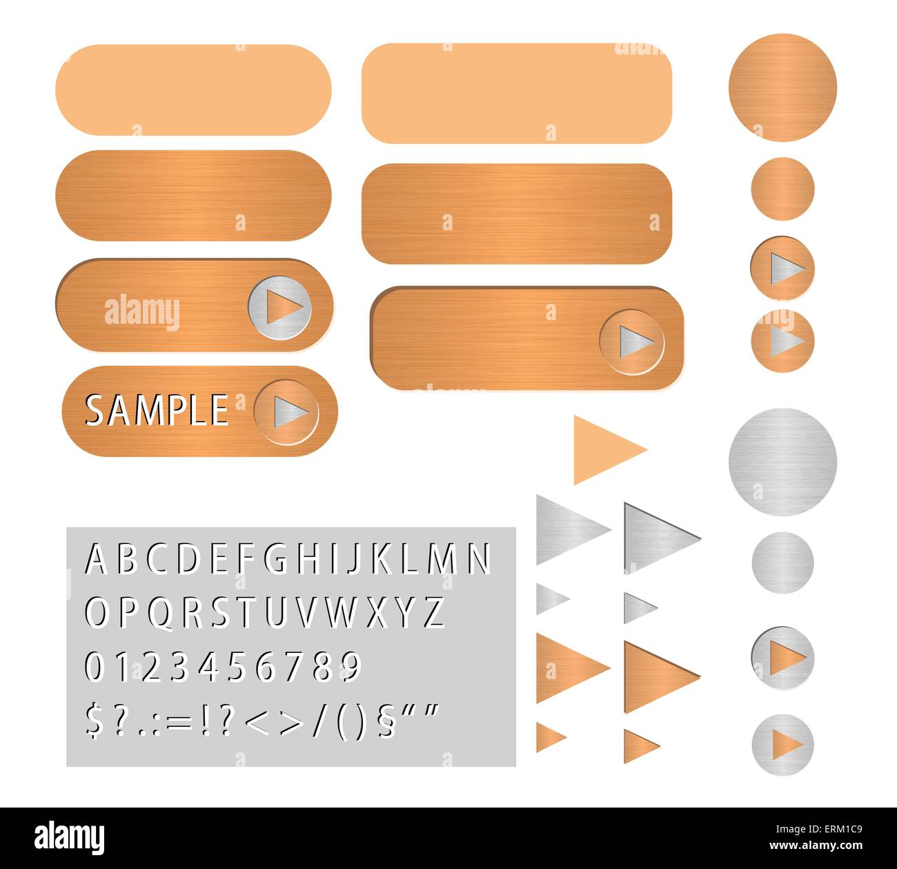 vector buttons looks like polished copper - Stock Vector