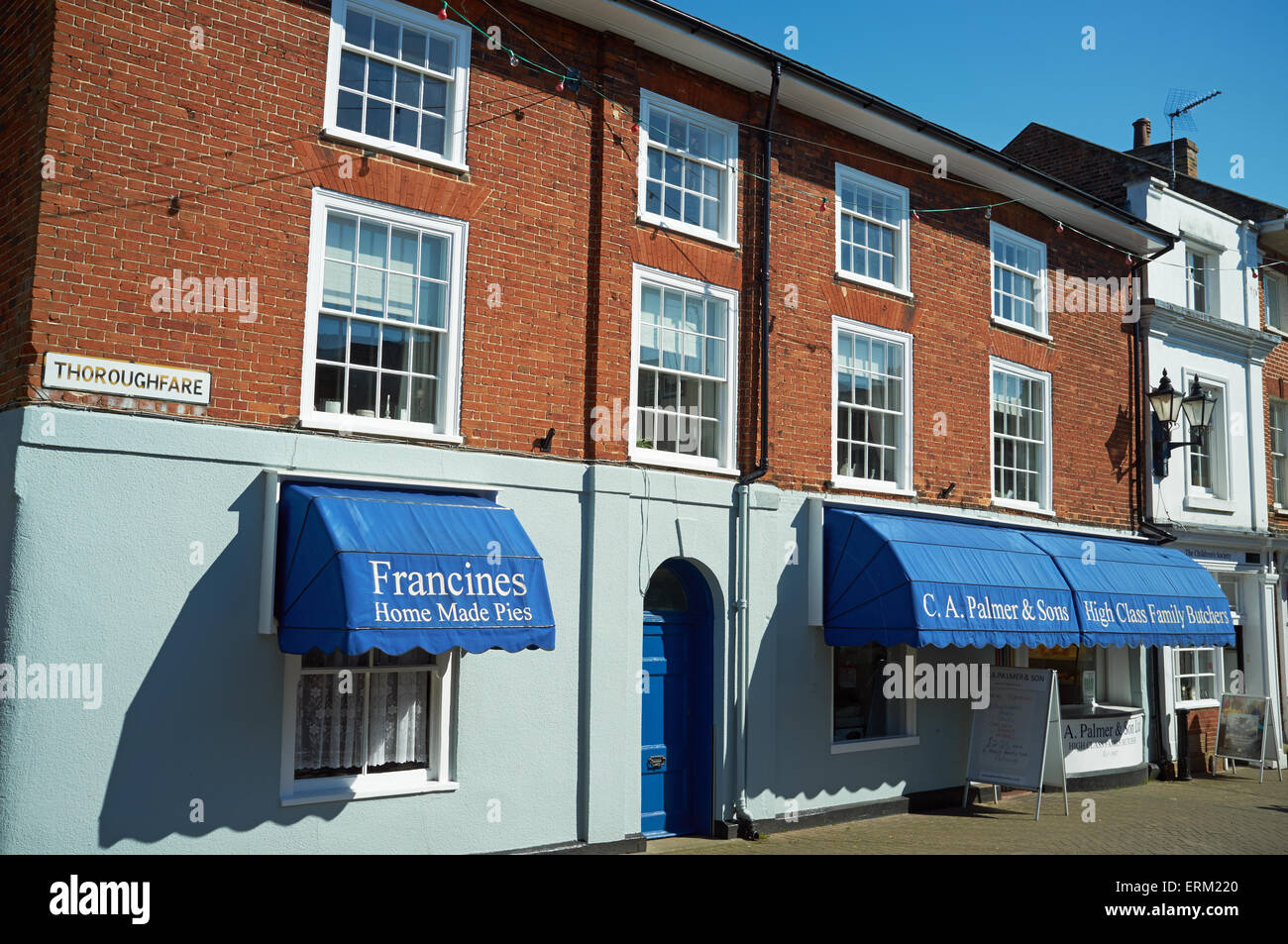 Francies home made pies and C A Palmer and sons family butchers, Halesworth, Suffolk, UK. - Stock Image