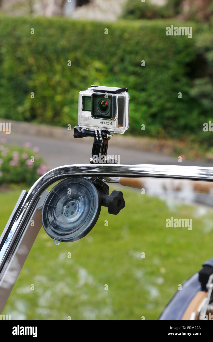 Go Pro Hero 4 Camera mounted on the windscreen of a Morgan Sports Car - Stock Image