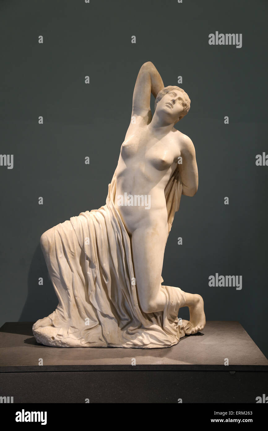 Dying Niobid. Sculpture of one the daughters of Niobe, dying from a arrow wound in her back. 5th c. BC. Roman copy. - Stock Image