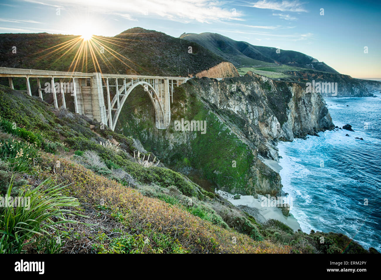 Images of the California Coastline from Mendocino to the San Mateo beaches and Big Sur - Stock Image
