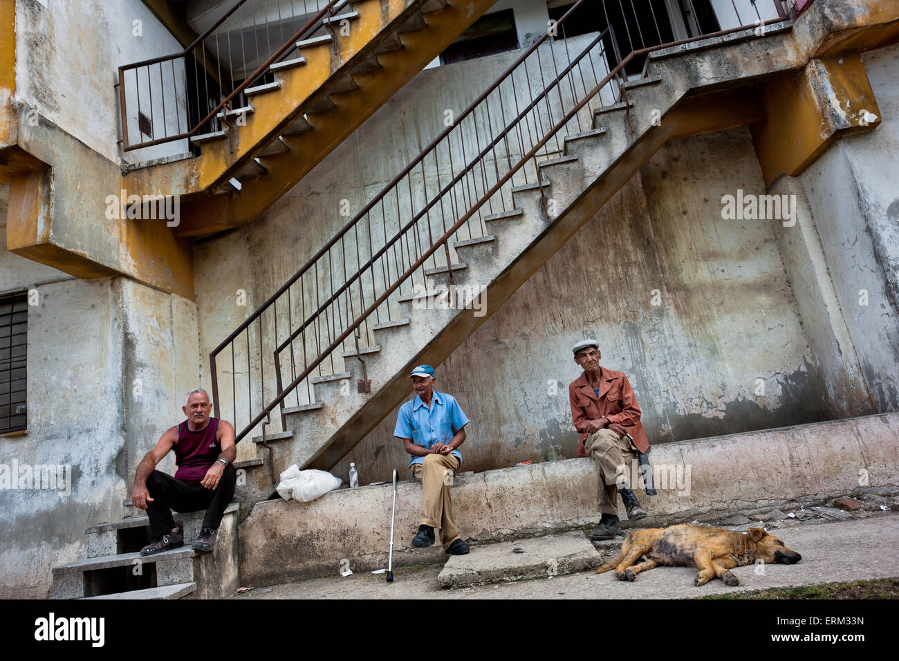 Old Cuban men sit and drink rum in front of the apartment block in Bahía, a public housing periphery of Havana, - Stock Image