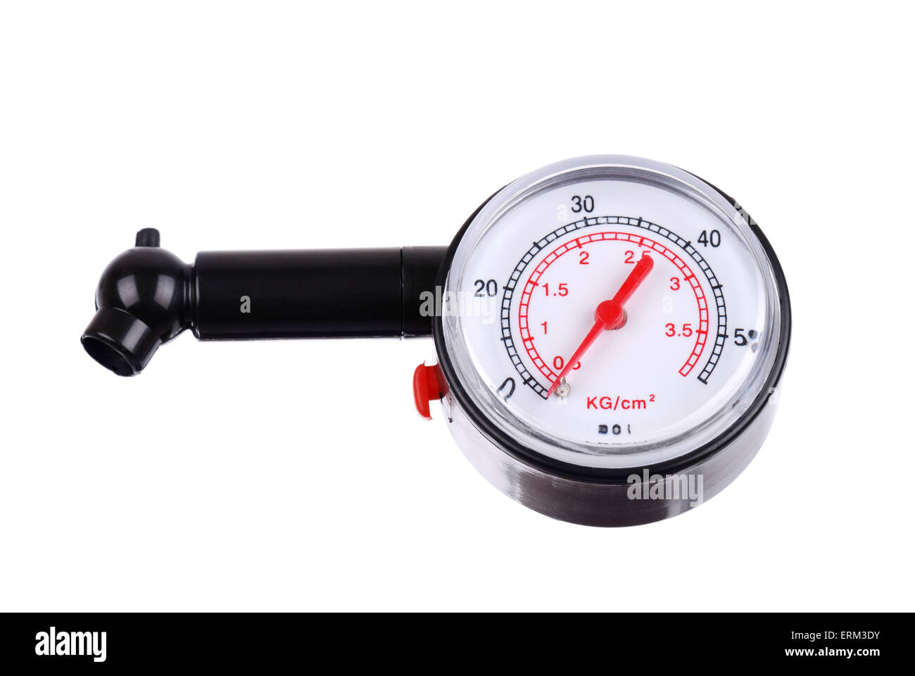 Manometer for measuring tire pressure isolated - Stock Image