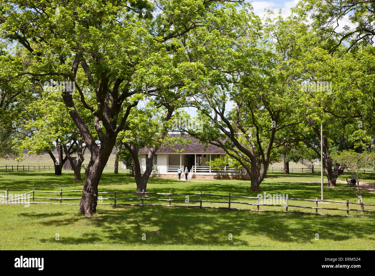 Reconstruction of Lyndon B. Johnson's Birthplace, LBJ Ranch National Historic Site, Stonewall, Texas. Stock Photo