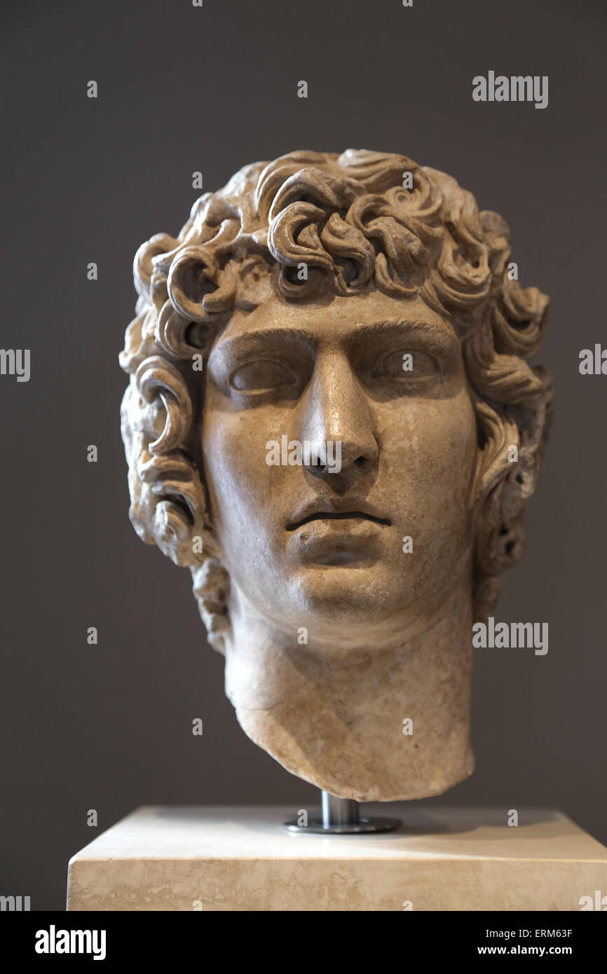 Portrait of Antinoo (111-130). Bithynian Greek youth, favourite of Emperor Hadrian. Late Hadrianic period (AD 130 - Stock Image