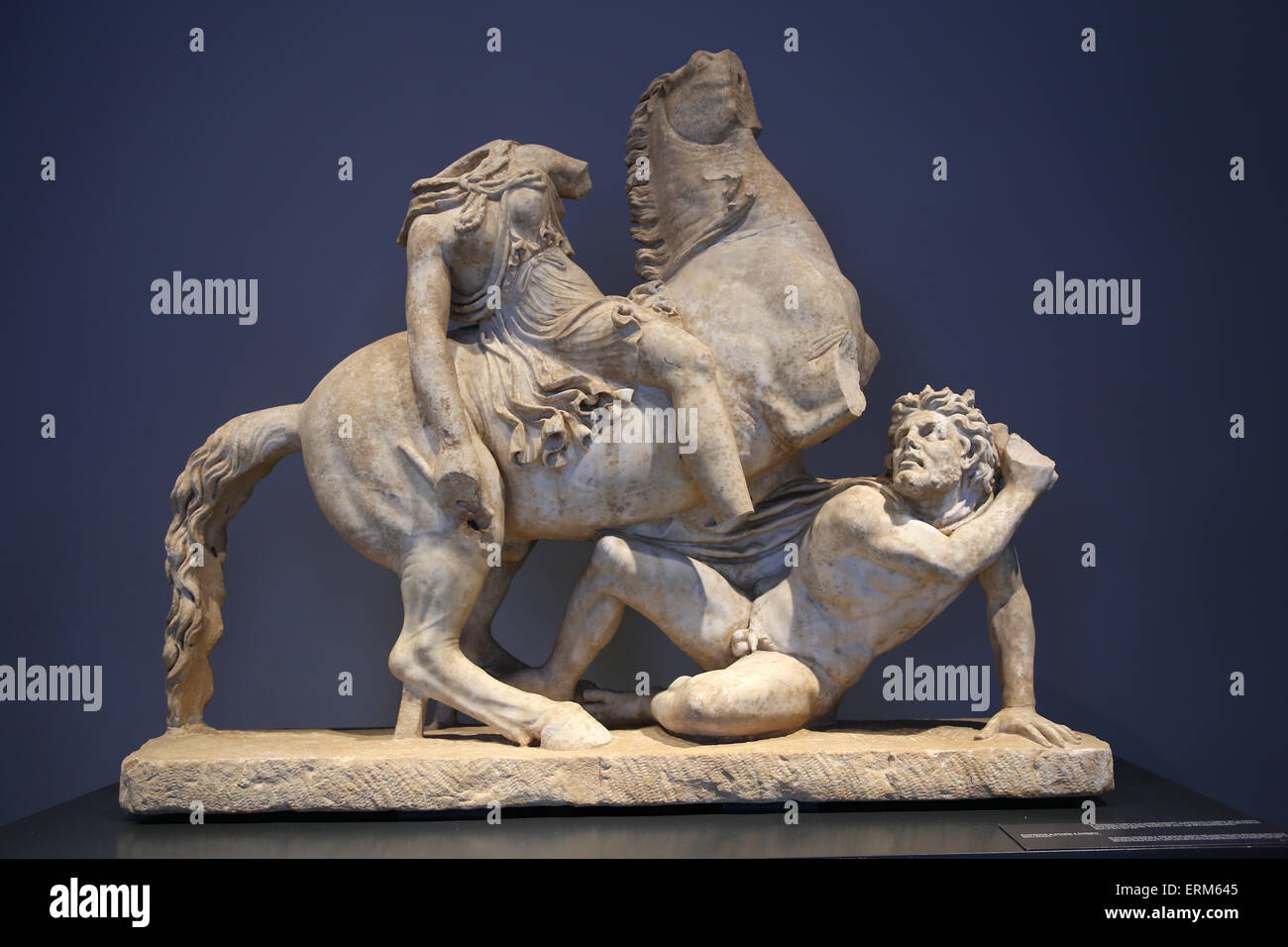Amazon perched on a rearing horse. Roman copy. 2nd c. AD.National Roman Museum.  Palace Massimo. Rome. Italy. - Stock Image