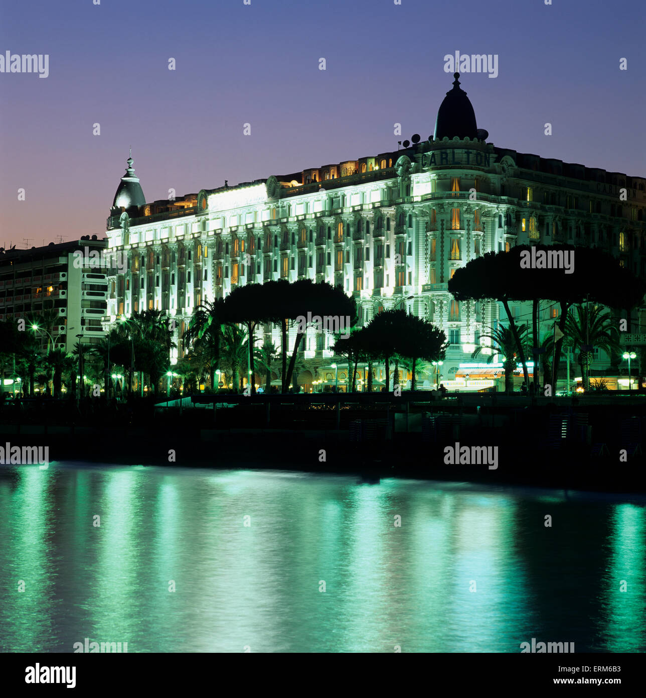 Carlton Hotel at night, Cannes, Provence (Cotes d'Azur), France, Europe - Stock Image