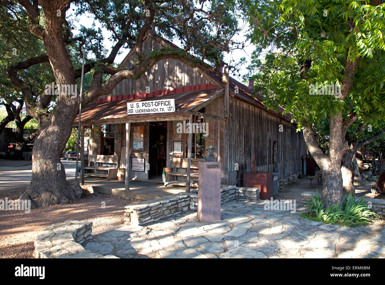 Built in 1850, this unpainted frontier-style building served as Luckenbach's postoffice until 1971. - Stock Image