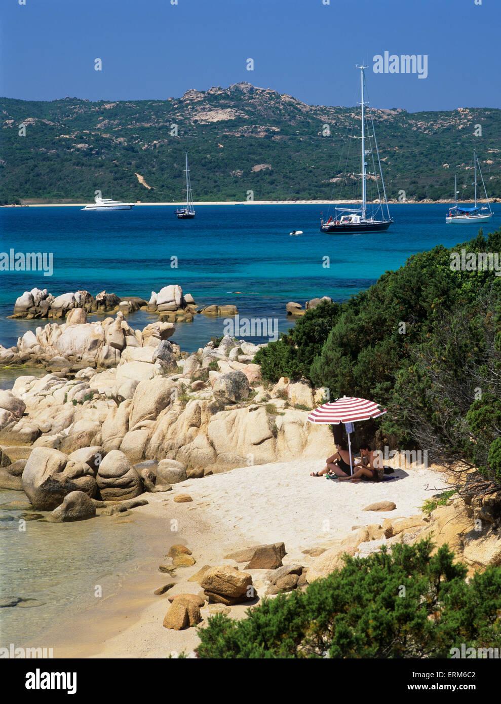 Beach view, Capo Capaccia, Costa Smeralda, Olbia-Tempio Province, Sardinia, Italy, Europe - Stock Image